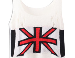 White Character Mi Cut Out Ripped Knit Vest Choies.com online fashion store United Kingdom Europe