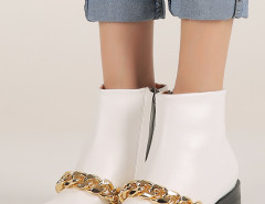 White Chunky Chain Zip Ankle Boots Choies.com online fashion store United Kingdom Europe
