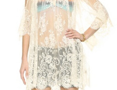 White Cold Shoulder Flare Sleeve Sheer Lace Beach Dress-top Choies.com online fashion store United Kingdom Europe