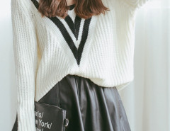 White Color Block Stripe V Neck Long Sleeve Jumper Choies.com online fashion store United Kingdom Europe