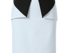 White Contrast Geo Side Zipper Back Split Bodycon Skirt Choies.com online fashion store United Kingdom Europe