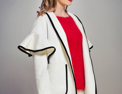 White Contrast Lapel Ruffle Pocket Detail Open Front Coat Choies.com online fashion store United Kingdom Europe