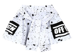 White Contrast Letter And Splash Print Tie Front Shorts Choies.com online fashion store United Kingdom Europe