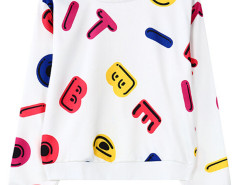 White Contrast Letter Print Sweatshirt Choies.com online fashion store United Kingdom Europe