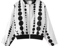 White Contrast Polka Dot Zipper Front Bomber Jacket Choies.com online fashion store United Kingdom Europe