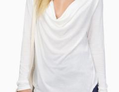 White Cowl Neck Asymmetric Long Sleeve T-shirt Choies.com online fashion store United Kingdom Europe