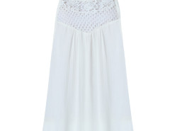White Crochet Cut Out Tie Back Textured Vest Choies.com online fashion store United Kingdom Europe
