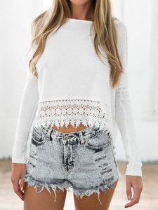 White Crochet Lace Hem Long Sleeve T-shirt Choies.com online fashion store United Kingdom Europe