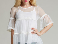 White Crochet Lace Panel Flare Sleeve Blouse And Tight Vest Choies.com online fashion store United Kingdom Europe