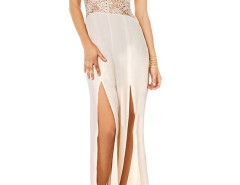 White Crochet Waist Slit Front Cami Jumpsuit Choies.com online fashion store United Kingdom Europe