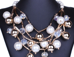 White Crystal Bead Faux Pearl Statement Necklace Choies.com online fashion store United Kingdom Europe