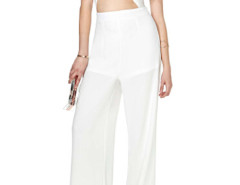 White Cut Out Detail Wrap Palazzo Jumpsuit Choies.com online fashion store United Kingdom Europe