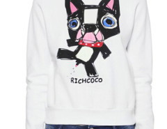 White Cute Dog And Letter Print Sweatshirt Choies.com online fashion store United Kingdom Europe