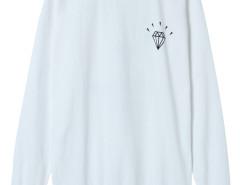 White Diamond And Letter Print Long Sleeve Sweatshirt Choies.com online fashion store United Kingdom Europe