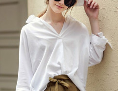 White Dipped Hem Bowknot Detail 3/4 Sleeve Boyfriend Shirt Choies.com online fashion store United Kingdom Europe