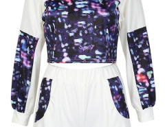 White Dye Print Crop Top And Elastic Waist Shorts Choies.com online fashion store United Kingdom Europe