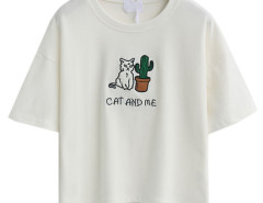 White Embroidery Letter And Cat Patch Short Sleeve T-shirt Choies.com online fashion store United Kingdom Europe