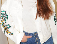 White Embroidery Olive Pattern Pocket Button Short Coat Choies.com online fashion store United Kingdom Europe
