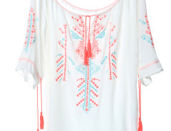 White Embroidery Pattern Ruffle Sleeve Loose Blouse Choies.com online fashion store United Kingdom Europe