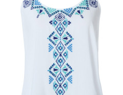 White Embroidery Pattern Strap Back Dipped Vest Choies.com online fashion store United Kingdom Europe