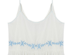 White Embroidery Spaghetti Strap Peplum Hi-lo Crop Top Choies.com online fashion store United Kingdom Europe
