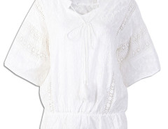 White Embroidery Trumpet Sleeve Lace Panel Tie Front Blouse Choies.com online fashion store United Kingdom Europe
