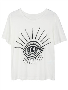 White Eye Print Short Sleeve T-shirt Choies.com online fashion store United Kingdom Europe