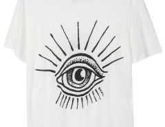 White Eye Print Short Sleeve T-shirt Choies.com online fashion store United Kingdom Europe