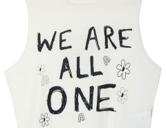 White Floral And Letter Print Sleeveless Crop Top Choies.com online fashion store United Kingdom Europe