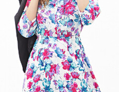 White Floral Bow Collar 3/4 Sleeve Shirt Dress Choies.com online fashion store United Kingdom Europe