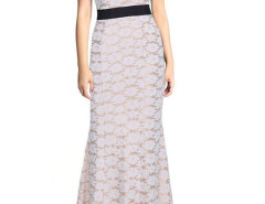 White Floral Crochet Lace Sleeveless Fishtail Maxi Dress Choies.com online fashion store United Kingdom Europe