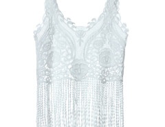 White Floral Crochet Lace Tassel Cami Crop Top Choies.com online fashion store United Kingdom Europe