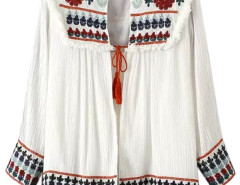 White Floral Embroidery Tassel Tie Front Ruched Cardigan Choies.com online fashion store United Kingdom Europe