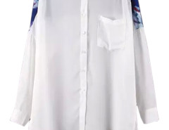 White Floral Panel Hi-lo Pocket Front Shirt Choies.com online fashion store United Kingdom Europe