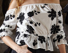White Floral Print Off Shoulder 3/4 Sleeve Crop Top Choies.com online fashion store United Kingdom Europe