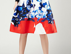 White Floral Print Pleats High Waist Skirt Choies.com online fashion store United Kingdom Europe
