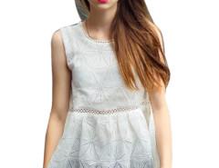 White Geo Pattern Cut Out Sleeveless Peplum Blouse Choies.com online fashion store United Kingdom Europe