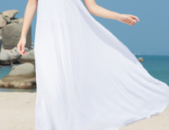 White Geo Pattern Cut Out Sleeveless Pleated Beach Dress Choies.com online fashion store United Kingdom Europe