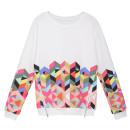 White Geometric Print Zipper Detail Long Sleeve Sweatshirt Choies.com online fashion store United Kingdom Europe
