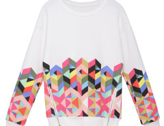 White Geometric Print Zipper Detail Long Sleeve Sweatshirt Choies.com online fashion store United Kingdom Europe