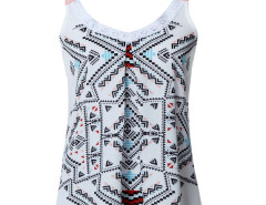 White Geometry Print Lace Detail Ruched Vest Choies.com online fashion store United Kingdom Europe