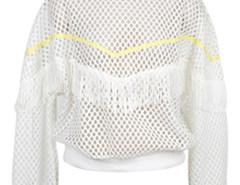 White Grid Mesh Long Sleeve Tassel Sweatshirt Choies.com online fashion store United Kingdom Europe