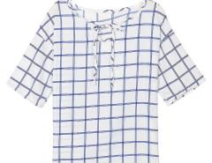 White Grid Print Keyhole Front Short Sleeve Blouse Choies.com online fashion store United Kingdom Europe