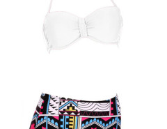 White Halter Cupped Bikini Top And Geo Pattern High Waist Bottom Choies.com online fashion store United Kingdom Europe
