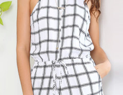 White Halter Plaid Drawstring Waist Romper Playsuit Choies.com online fashion store United Kingdom Europe