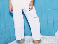 White High Waist Ripped Knee Wide Leg Ankle Jeans Choies.com online fashion store United Kingdom Europe