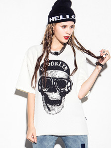 White Hiphop Skull And Letter Print Textured T-shirt Choies.com online fashion store United Kingdom Europe