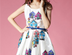 White House Print Sleeveless Belt Waist Skater Midi Dress Choies.com online fashion store United Kingdom Europe