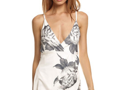 White Ink Floral Lattice Side Cami Wrap Dress Choies.com online fashion store United Kingdom Europe