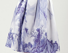 White Ink Painting Pleats High Waist Skirt Choies.com online fashion store United Kingdom Europe